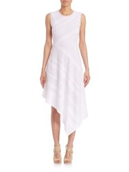 Bcbgmaxazria Tracie Asymmetrical Striped Lace Dress White