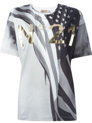 No21 Usa Flag Print T Shirt Grey