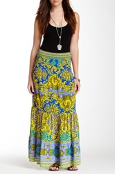 Hale Bob Silk Maxi Skirt Blue