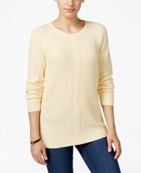 Karen Scott Cable Knit Crew Neck Sweater Only At Macy's Buttercreme