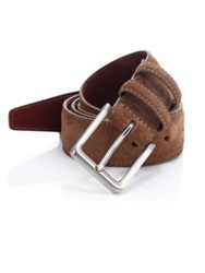 Saks Fifth Avenue Suede And Leather Belt Khaki