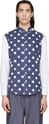 Msgm Navy And White Polkadot Shirt