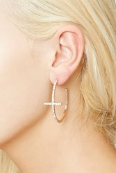 Forever 21 Rhinestone Cross Hoop Earrings