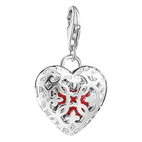 Thomas Sabo Charm Club Locket Heart Charm Silver Red