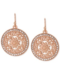 Hint Of Gold Crystal Filigree Circle Drop Earrings In 14K Rose Gold Plated Metal