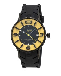 N.O.A. Watches Rubber Strap Quartz Watch Black Yellow