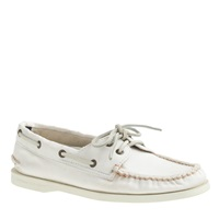 Sperry Top Sider For J.Crew Authentic Original 2 Eye Boat Shoes In Washed Canvas White