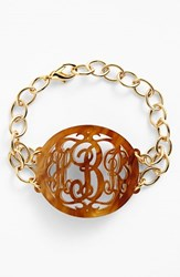 Women's Moon And Lola 'Annabel' Large Oval Personalized Monogram Bracelet Tigers Eye Gold Nordstrom Exclusive