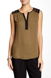 Daniel Rainn Lace Yoke Tank Green