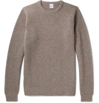 Aspesi Ribbed Wool Yak And Cashmere Blend Sweater Beige