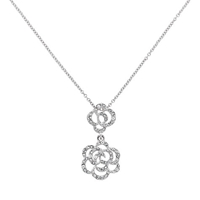Finesse Swarovski Crystal Double Flower Drop Pendant Rhodium