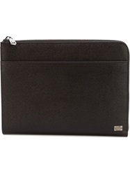 Dolce And Gabbana Textured Leather Pouch Brown