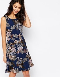 Pieces Sleeveless Printed Skater Dress Blue