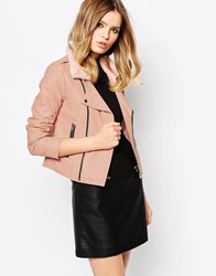 Goldie Reload Faux Leather Jacket With Faux Fur Trim Pink