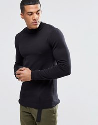 Asos Muscle Fit Turtleneck Sweater In Cotton Black