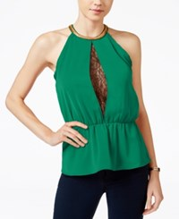 Xoxo Juniors' Embellished Lace Peplum Top Green