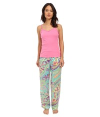 Lauren Ralph Lauren Knit Cami Long Pants Pajama Set Paisley Blue Turquoise Women's Pajama Sets Pink