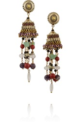 Etro Gold Plated Multi Stone Tassel Earrings