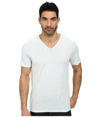 John Varvatos Short Sleeve Knit V Neck With Pintuck Seam Details Beach Glass Men's Clothing Blue