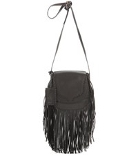 Polo Ralph Lauren Fringed Leather Shoulder Bag Black