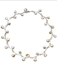 Macy's Sterling Silver Necklace Keishi Cultured Freshwater Pearl Branch Black