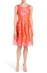 Women's Elie Tahari 'Jessy' Laser Cut Jacquard Fit And Flare Dress Orchid