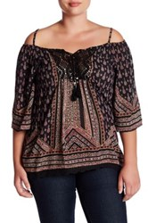 Angie Crochet Printed Gauze Blouse Plus Size Multi