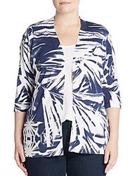 Lafayette 148 New York Plus Size Printed Open Front Cardigan Blue Multi