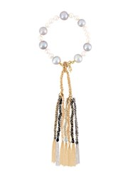 Carolina Bucci Nana Pearl Bracelet With Lucky Tassles White