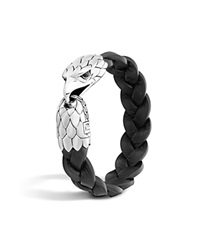 John Hardy Classic Chain Silver Eagle Head Bracelet On Black Braided Leather With Black Chalcedony Eyes Black Silver
