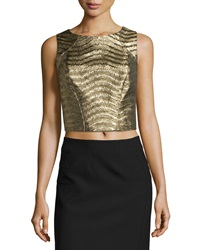 Zac Posen Sleeveless Jacquard Crop Top Gold
