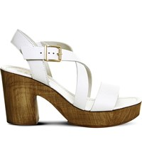 Office Michigan Leather Cross Strap Heeled Sandals White Leather