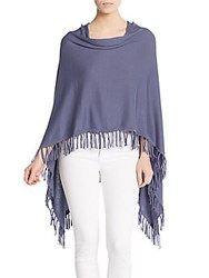 Saks Fifth Avenue Fringed Poncho Blue