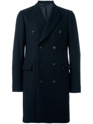 Paul Smith Double Breasted Mid Coat Blue