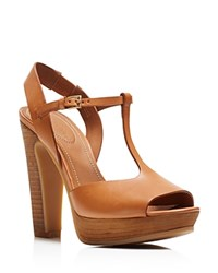 See By Chloe Bell T Strap Platform Sandals Tan