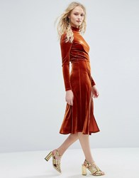 Asos High Neck Velvet Long Sleeve Midi With Front Splices Rust Orange
