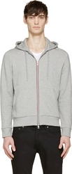 Moncler Grey Striped Logo Classic Hoodie