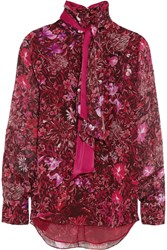 Matthew Williamson Printed Silk Chiffon Blouse Red