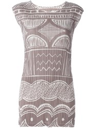 Issey Miyake Pleats Please By Printed Pleated Tank Top Nude And Neutrals