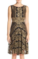 Women's Gabby Skye Metallic Lace A Line Dress