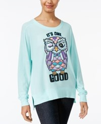 Rampage Juniors' It's Owl Good Oversized Graphic Sweatshirt Blue Tint Heather