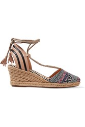 Schutz Iacee Leather Trimmed Canvas Wedge Espadrilles Nude