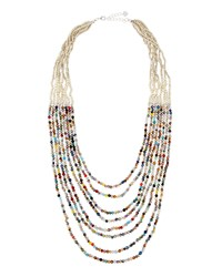 Nakamol Multi Strand Confetti Crystal And Silver Beaded Necklace Women's