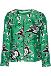 Diane Von Furstenberg Gabrielle Printed Wool And Silk Blend Twill Jacket Green