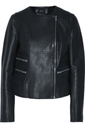 Maje Kaustral Leather Biker Jacket Blue