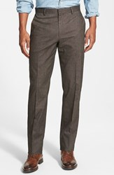Men's Wallin And Bros. Flat Front Solid Cotton Blend Trousers Brown