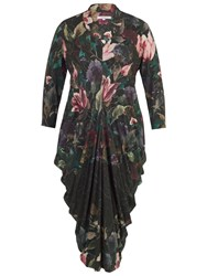 Chesca Floral Border Print Jersey Dress Black Multi
