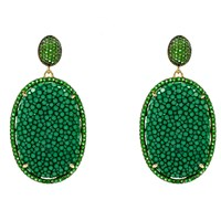 Latelita London Stingray Pave Oval Earring Emerald Green Gold Green