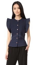 Opening Ceremony William Circle Sleeve Top Deep Navy