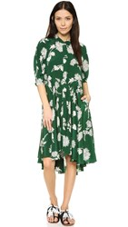 Burning Torch Geranium Floral Print Dress